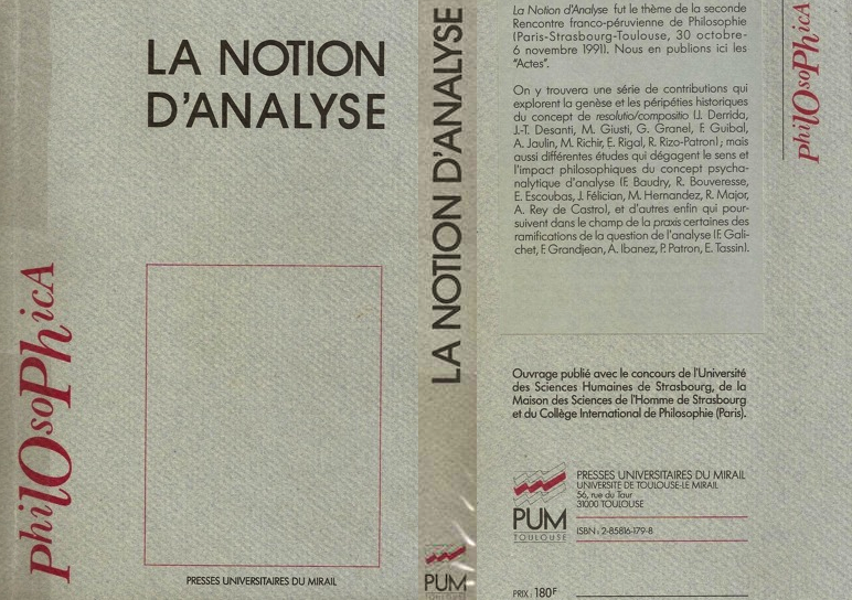 Première et quatrième de couverture des Actes du Colloque franco-péruvien, « La notion d'analyse » Paris-Strasbourg-Toulouse, 30 octobre-6 novembre 1991, PUM, Toulouse, 1992